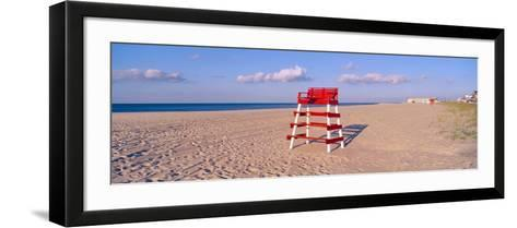 Lifeguard Chair at the Beach in Morning, Cape May, New Jersey--Framed Art Print