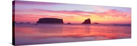 Bandon Beach at Sunset, Oregon--Stretched Canvas Print