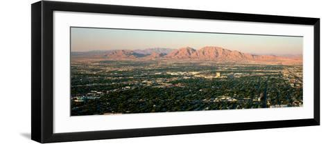 Panoramic View of Las Vegas Nevada Gambling City at Sunset--Framed Art Print