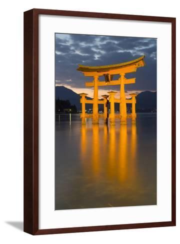 The Floating Miyajima Torii Gate of Itsukushima Shrine at Dusk-Stuart Black-Framed Art Print