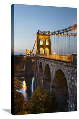 Menai Suspension Bridge at Night, Built in 1826 by Thomas Telford, Bangor, Gwynedd, Wales, UK-Stuart Black-Stretched Canvas Print