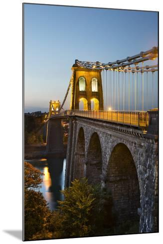 Menai Suspension Bridge at Night, Built in 1826 by Thomas Telford, Bangor, Gwynedd, Wales, UK-Stuart Black-Mounted Photographic Print