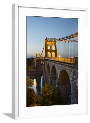Menai Suspension Bridge at Night, Built in 1826 by Thomas Telford, Bangor, Gwynedd, Wales, UK-Stuart Black-Framed Art Print
