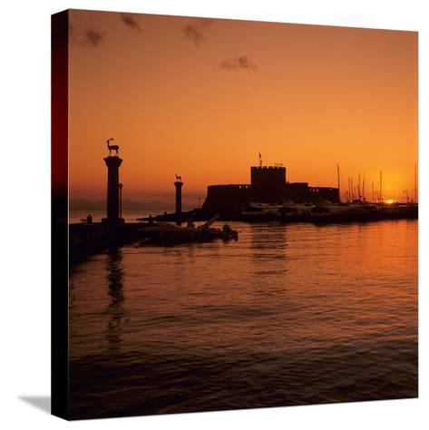 Mandraki Harbour at Sunrise, Rhodes Town, Rhodes Island, Dodecanese Islands, Greek Islands, Greece-Stuart Black-Stretched Canvas Print