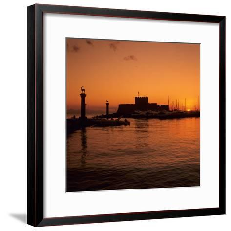 Mandraki Harbour at Sunrise, Rhodes Town, Rhodes Island, Dodecanese Islands, Greek Islands, Greece-Stuart Black-Framed Art Print