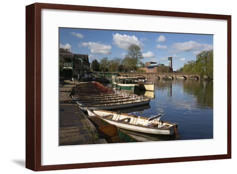Boats on the River Avon and the Royal Shakespeare Theatre-Stuart Black-Framed Art Print