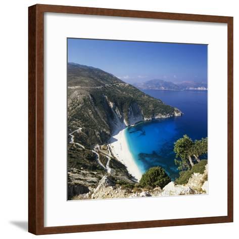 Myrtos Beach, North-West Coast, Kefalonia, Ionian Islands, Greek Islands, Greece-Stuart Black-Framed Art Print