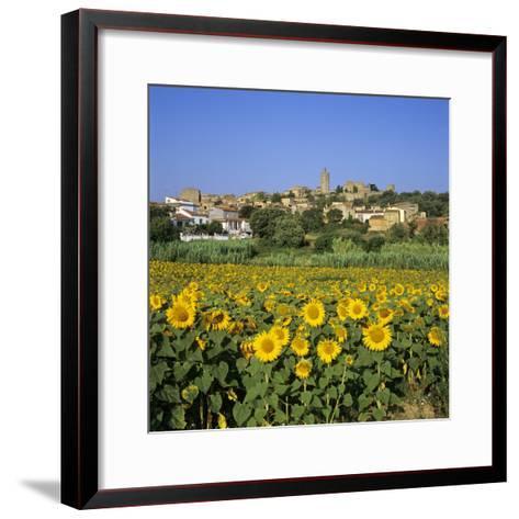 Hilltop Village Above Sunflower Field, Pals, Catalunya (Costa Brava), Spain-Stuart Black-Framed Art Print