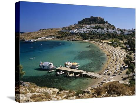 View over Beach and Castle, Lindos, Rhodes Island, Dodecanese Islands, Greek Islands, Greece-Stuart Black-Stretched Canvas Print
