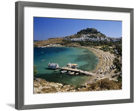 View over Beach and Castle, Lindos, Rhodes Island, Dodecanese Islands, Greek Islands, Greece-Stuart Black-Framed Art Print