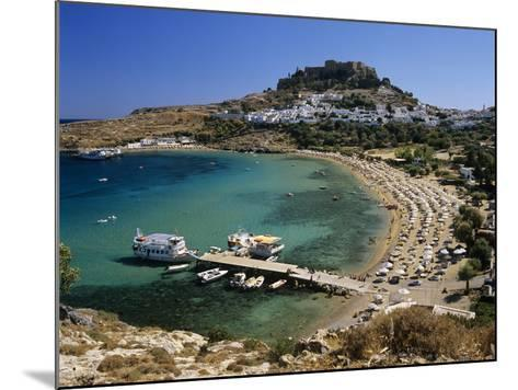 View over Beach and Castle, Lindos, Rhodes Island, Dodecanese Islands, Greek Islands, Greece-Stuart Black-Mounted Photographic Print