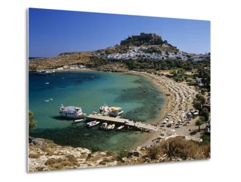 View over Beach and Castle, Lindos, Rhodes Island, Dodecanese Islands, Greek Islands, Greece-Stuart Black-Metal Print