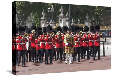 Guards Military Band Marching Past Buckingham Palace En Route to the Trooping of the Colour-James Emmerson-Stretched Canvas Print