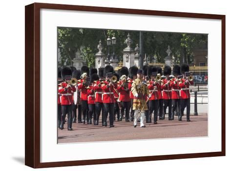 Guards Military Band Marching Past Buckingham Palace En Route to the Trooping of the Colour-James Emmerson-Framed Art Print
