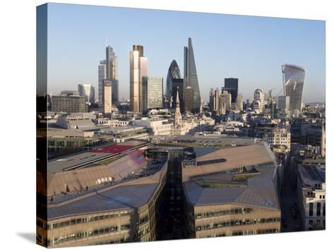City Skyline from St. Pauls, London, England, United Kingdom-Charles Bowman-Stretched Canvas Print