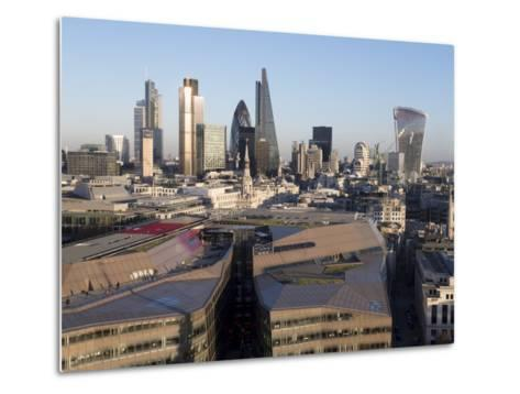 City Skyline from St. Pauls, London, England, United Kingdom-Charles Bowman-Metal Print