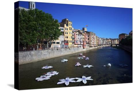 River Onyar During the Flower Festival, Girona, Catalonia, Spain-Rob Cousins-Stretched Canvas Print
