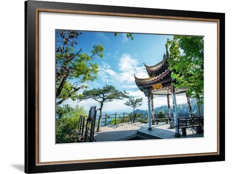 Pavilion on Four Sides Peak at Tian Mu Shan, Zhejiang, China-Andreas Brandl-Framed Art Print