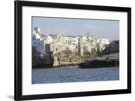 Clifftop Houses, Built onto Rocks, Forming the Harbour of Polignano a Mare-Stuart Forster-Framed Art Print