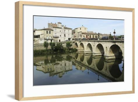 A Roman Bridge, Built in the Reign of the Emperor Tiberius, Spans the River Vidourle at Sommieres-Stuart Forster-Framed Art Print