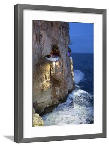 Bar Built in Cliff Caves, Cova D'En Xoroi in Evening, Cala En Porter-Stuart Black-Framed Art Print