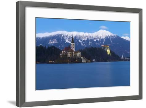 The Assumption of Mary Pilgrimage Church on Lake Bled and Bled Castle at Dusk, Bled, Slovenia-Miles Ertman-Framed Art Print