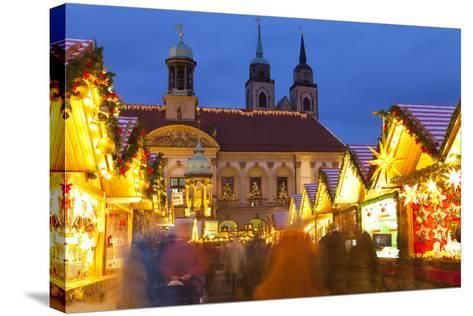 Christmas Market in the Altermarkt with the Baroque Town Hall in the Background-Miles Ertman-Stretched Canvas Print