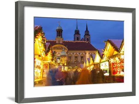 Christmas Market in the Altermarkt with the Baroque Town Hall in the Background-Miles Ertman-Framed Art Print