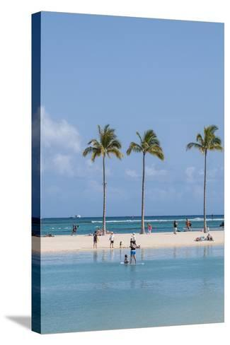 Waikiki Beach, Waikiki, Honolulu, Oahu, Hawaii, United States of America, Pacific-Michael DeFreitas-Stretched Canvas Print
