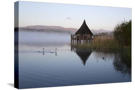 Llangorse Lake and Crannog Island in Morning Mist-Stuart Black-Stretched Canvas Print