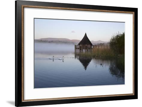 Llangorse Lake and Crannog Island in Morning Mist-Stuart Black-Framed Art Print
