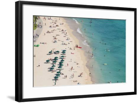 Waikiki Beach, Waikiki, Honolulu, Oahu, Hawaii, United States of America, Pacific-Michael DeFreitas-Framed Art Print