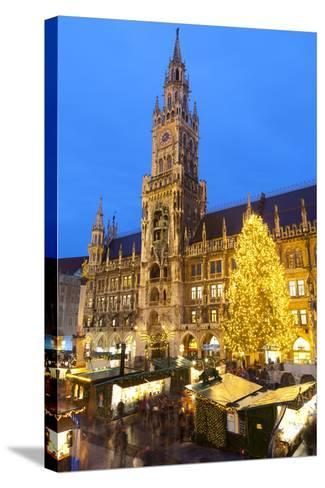 Overview of the Marienplatz Christmas Market and the New Town Hall, Munich, Bavaria, Germany-Miles Ertman-Stretched Canvas Print