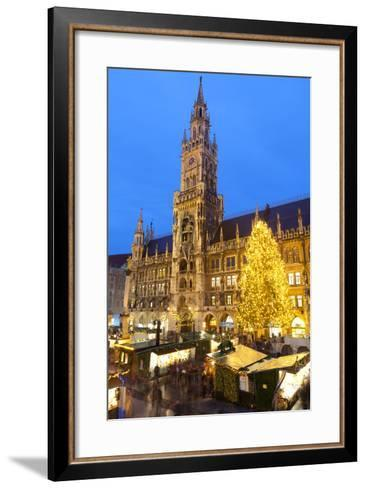 Overview of the Marienplatz Christmas Market and the New Town Hall, Munich, Bavaria, Germany-Miles Ertman-Framed Art Print