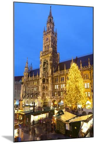 Overview of the Marienplatz Christmas Market and the New Town Hall, Munich, Bavaria, Germany-Miles Ertman-Mounted Photographic Print