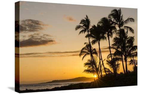 Sunset at Poipu Beach, Kauai, Hawaii, United States of America, Pacific-Michael DeFreitas-Stretched Canvas Print