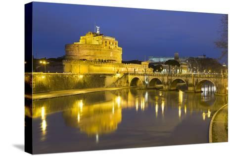 Castel Sant'Angelo and Ponte Sant'Angelo on the River Tiber at Night, Rome, Lazio, Italy-Stuart Black-Stretched Canvas Print