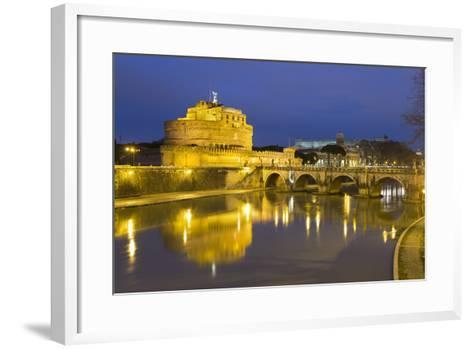 Castel Sant'Angelo and Ponte Sant'Angelo on the River Tiber at Night, Rome, Lazio, Italy-Stuart Black-Framed Art Print