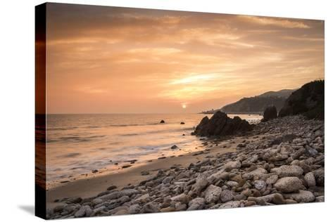 Sunset on Will Rogers Beach, Pacific Palisades, California, United States of America, North America-Mark Chivers-Stretched Canvas Print