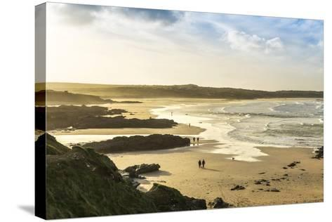 Sunrise at Gwithian Beach, Cornwall, England, United Kingdom-Mark Chivers-Stretched Canvas Print