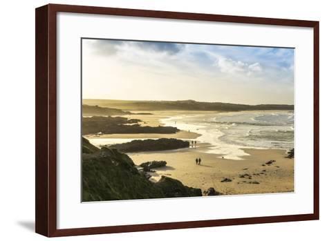 Sunrise at Gwithian Beach, Cornwall, England, United Kingdom-Mark Chivers-Framed Art Print