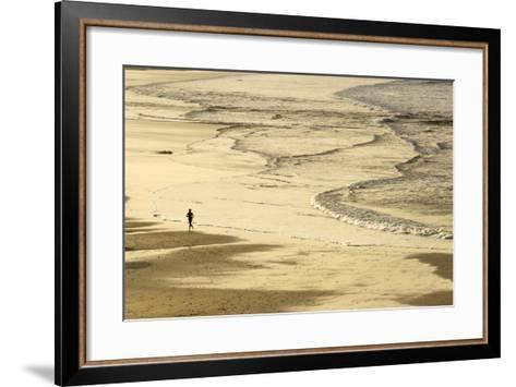 Woman Jogging at Sunrise on Gwithian Beach, Cornwall, England, United Kingdom-Mark Chivers-Framed Art Print