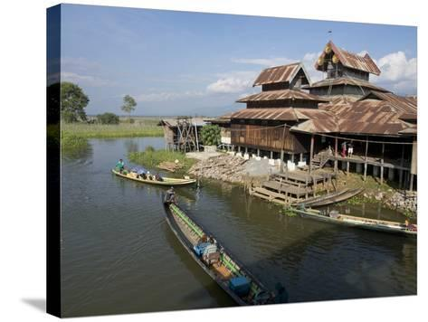Tourists Arrive by Boat at Monastery on Inle Lake, Shan State, Myanmar (Burma)-Julio Etchart-Stretched Canvas Print