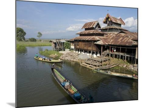 Tourists Arrive by Boat at Monastery on Inle Lake, Shan State, Myanmar (Burma)-Julio Etchart-Mounted Photographic Print