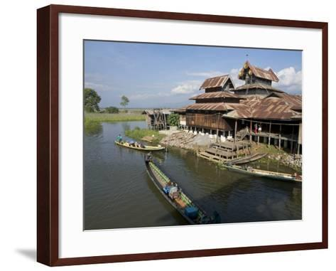 Tourists Arrive by Boat at Monastery on Inle Lake, Shan State, Myanmar (Burma)-Julio Etchart-Framed Art Print