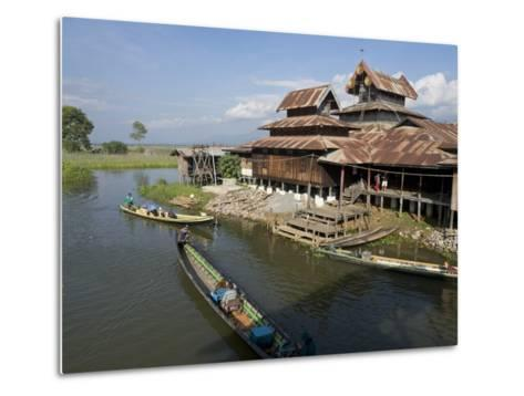 Tourists Arrive by Boat at Monastery on Inle Lake, Shan State, Myanmar (Burma)-Julio Etchart-Metal Print