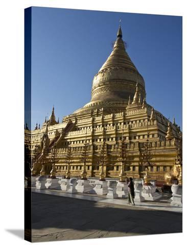 The Shwe Zigon, a Buddhist Temple, Nyaung-U, Near Bagan (Pagan), Myanmar (Burma)-Julio Etchart-Stretched Canvas Print
