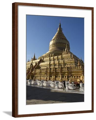 The Shwe Zigon, a Buddhist Temple, Nyaung-U, Near Bagan (Pagan), Myanmar (Burma)-Julio Etchart-Framed Art Print