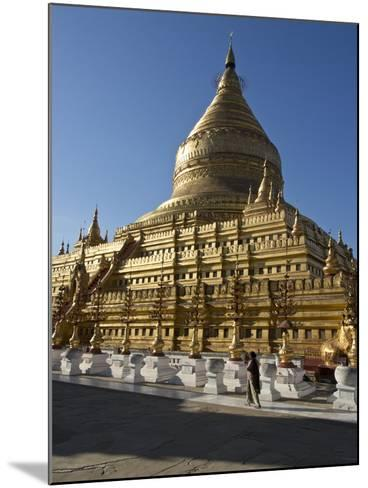 The Shwe Zigon, a Buddhist Temple, Nyaung-U, Near Bagan (Pagan), Myanmar (Burma)-Julio Etchart-Mounted Photographic Print