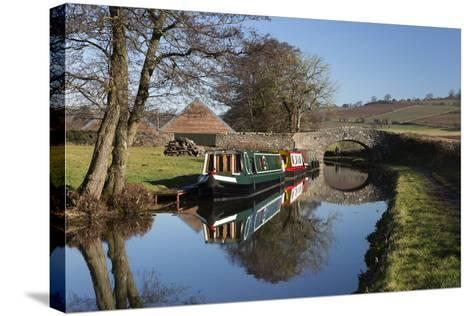 Barges on the Monmouthshire and Brecon Canal-Stuart Black-Stretched Canvas Print